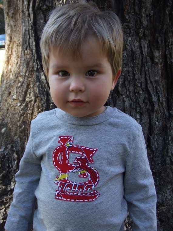 STL Cardinals hand embroidered shirt, St. Louis Cardinals baby clothes, boy onsie, girl shirt, Cardinals fabric