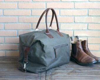 Waxed canvas weekender bag - overnight bag - waxed canvas traveller bag - mens bag - duffle bag - waxed canvas bag - weekender bag