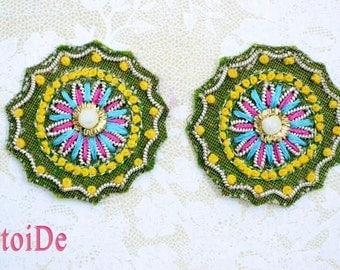 Vintage Beaded Applique Flower Paisley - 2 Applique