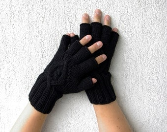 Black fingerless gloves Mens fingerless Driving gloves Winter gloves Arm warmers Cable knit gloves Wool gloves fingerless Knit gloves
