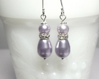 Lavender Pearl Drop Earrings , Bridesmaid Jewelry, Wedding, Valentines Day Gifts, Mom Jewelry, Silver Earrings