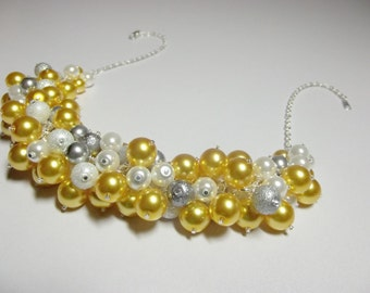 Yellow White Gray Pearl Cluster Necklace, Christmas Gift, Mom Sister Grandmother Wedding Jewelry, Cocktail, Party, ONLY ONE
