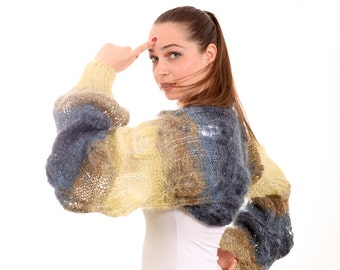 Hand Knittted Mohair Shrug Dusk at the Lake2, shawl yellow and blue, autumn fall fashion by Solandia, fashion women knit accessories
