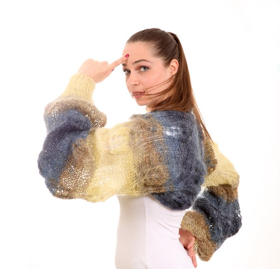 Hand Knitted Shrug, Mohair Shrug by Solandia, shrug yellow and blue, winter fashion, Christmas gift, Christmas Sale