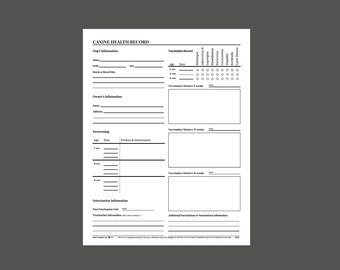 Vaccination etsy for Pet health record template