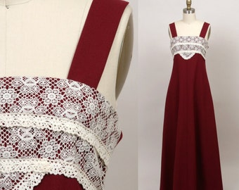 1970's maxi dress in cranberry and lace
