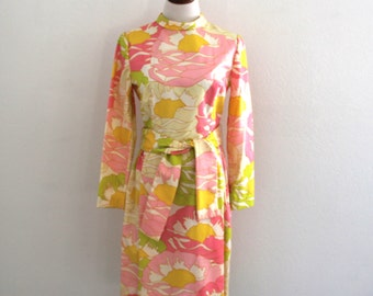 1960s Psychedelic Dress Tanner Floral Bright Colors Mod Print Silky Womens Vintage Medium