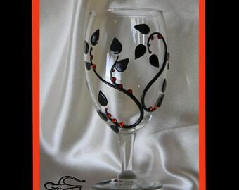 Autumn, OOAK, Wine Party Glass, Art Nuevo, Elven-Nouveau Personal Wine Goblet, by Elstwhen.