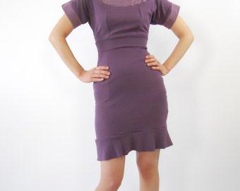 Purple mini dress color block fishtail dress ruffle dress ecofriendly dress fitted dress sexy dress pull over dress bamboo dress on sale