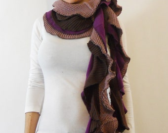 ON SALE ecofriendly scarf made of Repurposed Sweaters Scarf purple scarf gifts for her ruffle scarf long scarf winter scarf knit scarf