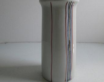 Vintage Art Pottery Vase. Ceramic, Porcelain, Stoneware.  1960's.   Grey white Glaze.   Mid Century Modern.  Eames era.