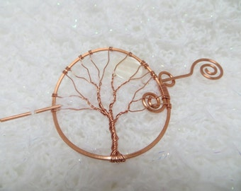 Copper Shawl Pin, Tree of Life Pin, Copper Hair Pin, Wire Wrapped Barrette
