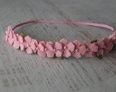 Mini Wool Felt Hydrangea Garland Headband in Baby Pink  - Newborn Baby to Adult