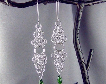 """Chainmaille, Aluminum Rings, Swarovski Crystals, Sterling Silver - 3 3/4"""" - Earrings - Hand Crafted Artisan Jewelry"""