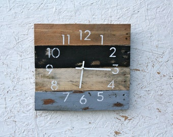 Reclaimed wood wall clock.  Pallet wood. Black and Gray. Rustic meets Industrial.  Recycled, Reclaimed. Great gift idea.