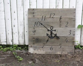 Large NAUTICAL themed Wall Clock. Gray color wash. Reclaimed Wood.  Beach House.  Anchor. CUSTOM.  Repurposed. Gray. Sailor. Monogram.