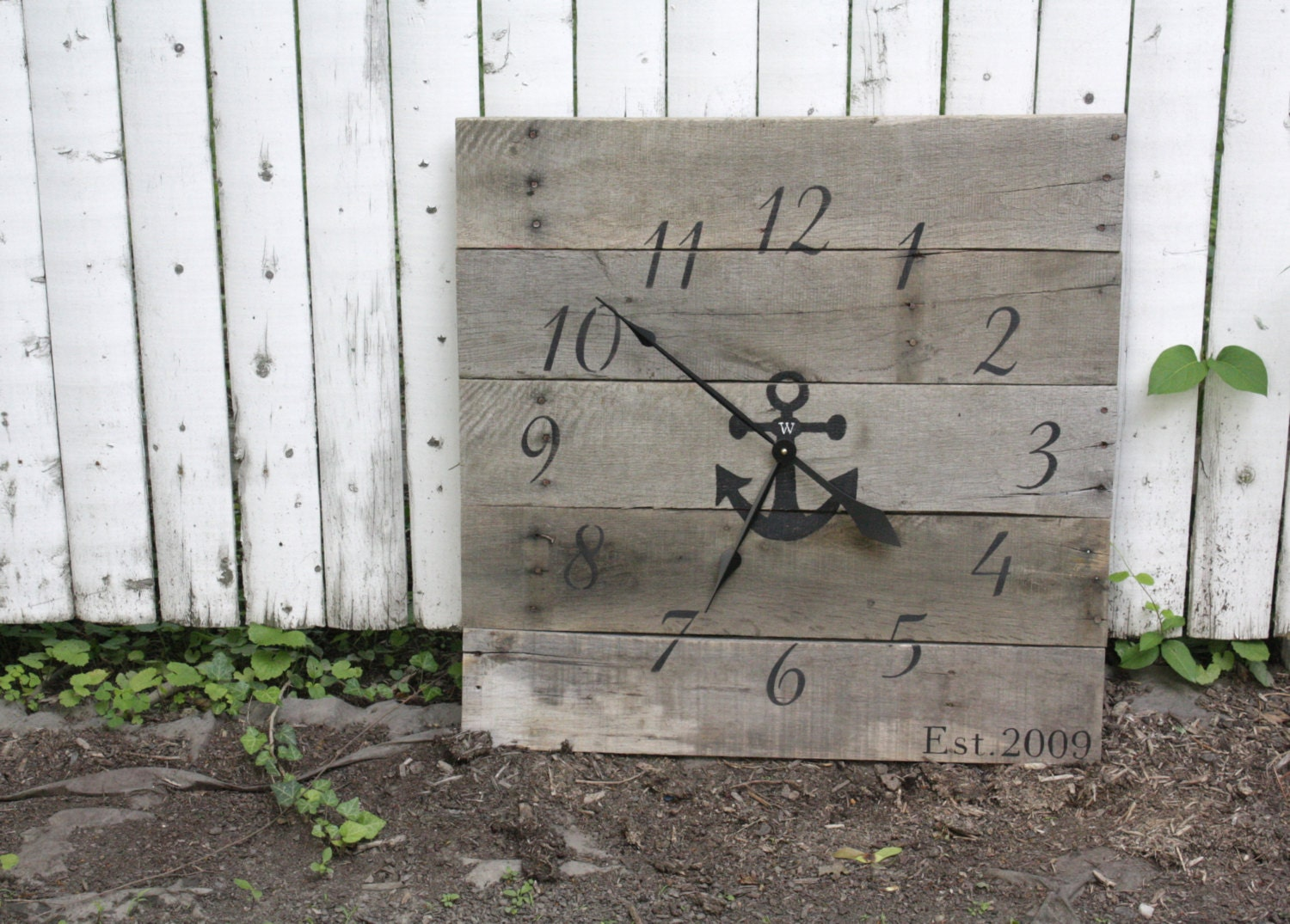 large nautical themed wall clock gray color wash reclaimed