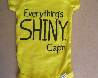Everything's Shiny Cap'n -Hand Painted Baby Onesie-