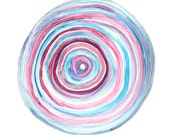 GROWTH RINGS abstract watercolor art print in blue and magenta