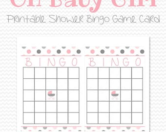 Pink And Gray Baby Shower Bingo Game, Bingo Cards, Pink And Grey Party  Supplies