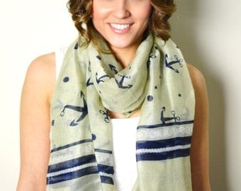 SUPER SALE 13.00 Creme Nautical Anchors Scarf, Wrap, Shawl, Coverup, Sarong, Scarf, Nautical Scarves, Summer Cotton Scarf