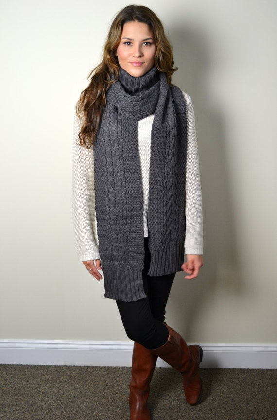 Cable Knit Turtleneck Scarf Shawl Wrap Chunky Knit Long Scarf