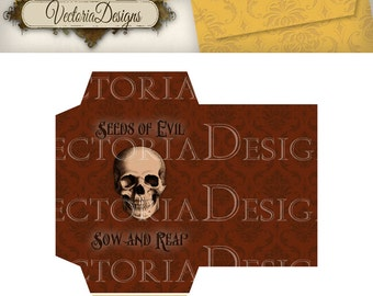 Halloween Seed Packets Printable instant download digital collage sheet VD0495