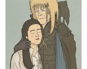 David Bowie Labyrinth Illustration Art Print - Goblin King and Sarah - labyrinth movie