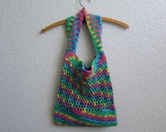 Rainbow Cotton Crochet Tote Bag - Eco-Friendly