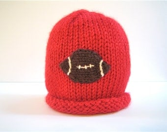 FOOTBALL Hat - knit baby hat - newborn hat - knitted baby hat - baby shower gift - knit boy's beanie - boys football hat - knit newborn hat