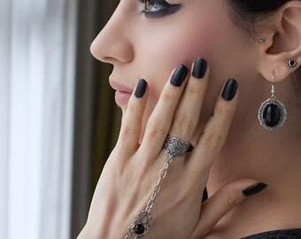 Onyx Slave Bracelet - Silver Plated Bracelet Ring - Gothic Jewelry