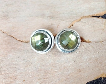 Sparkly Labradorite Stud Earrings- Labradorite Sterling Earrings- Labradorite Post Earrings- Faceted Stone Earrings- Round Stud- Bridesmaid