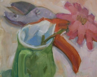 """Floral Oil Pink Flower New """"Only One Cutting"""" 8"""" x 8"""""""