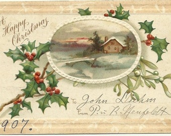 """Snow Covered Farmhouse with Country Bridge over Creek Sunset Vintage Postcard """"A Happy Christmas"""" Winter 1907 Undivided Back Postcard"""