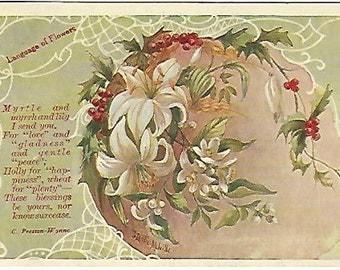 Myrtle Myrrh Lily Holly Preston Wynne Language of Flowers Antique Postcard 1909 J Leslie Melville