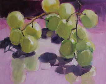 Green Grapes on Lavender Glass
