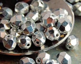 Silver Czech Glass 6mm Beads -25