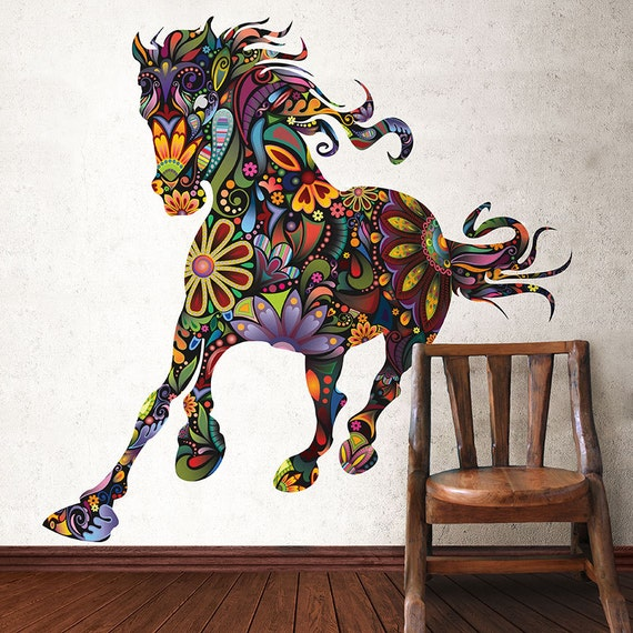 Wild Horse Colorful Wall Decal by MyWallStickers