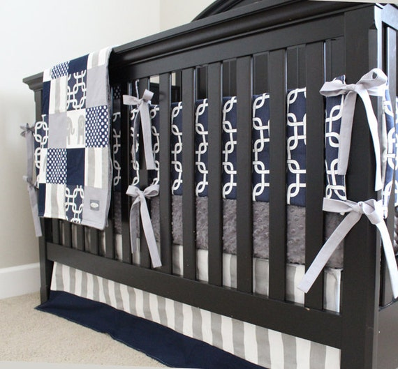 Navy Blue Elephant Baby Bedding
