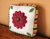 """Handmade vintage pillow, 10.5"""", stripes, three dimensional, leaves, cottage decor, floral, oxblood, green"""