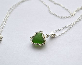 Green Genuine Sea Glass Hand Knitted Fine Silver Wire  Heart Pendant with 18 inch chain Necklace