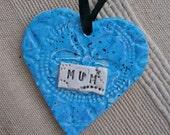 Blue heart ornament for Mum (ceramic)