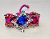 Funky Friendship Bracelets- Royal Blue, Turquoise, Pink, Fuchsia