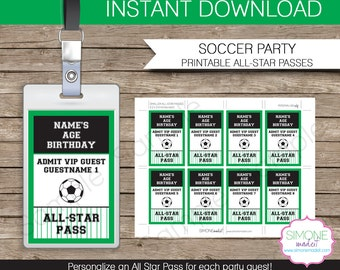 Soccer Party Football Party All Star Pass Printable Insert - INSTANT DOWNLOAD and EDITABLE template - type your own text in Adobe Reader