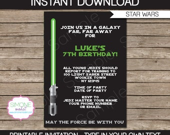 Star Wars Invitation Template - Birthday Party - INSTANT DOWNLOAD with EDITABLE text - you personalize at home