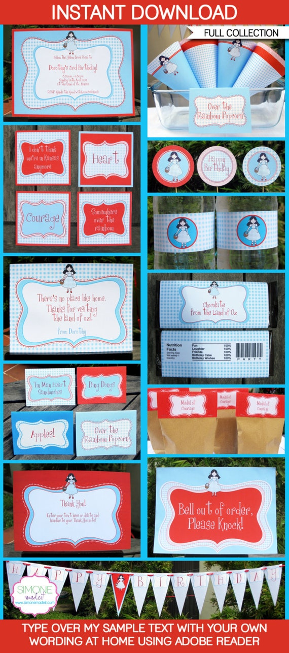 Wizard of Oz Party Invitations & Decorations - full Printable Package - INSTANT DOWNLOAD with EDITABLE text - you personalize at home