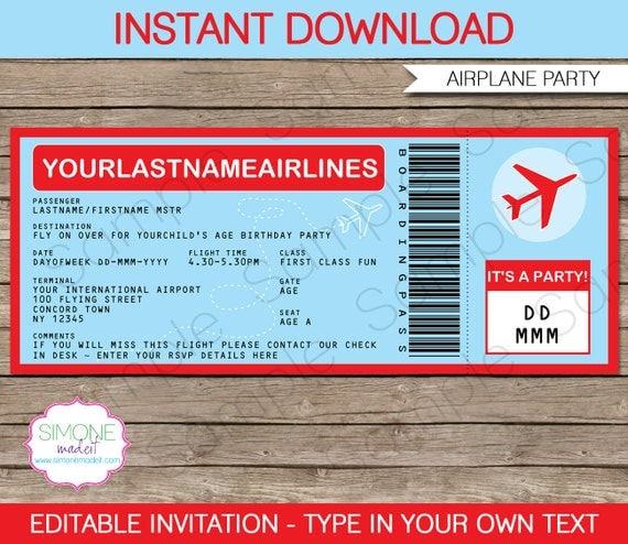Airplane boarding pass invitation airplane invitation for Flight ticket template gift