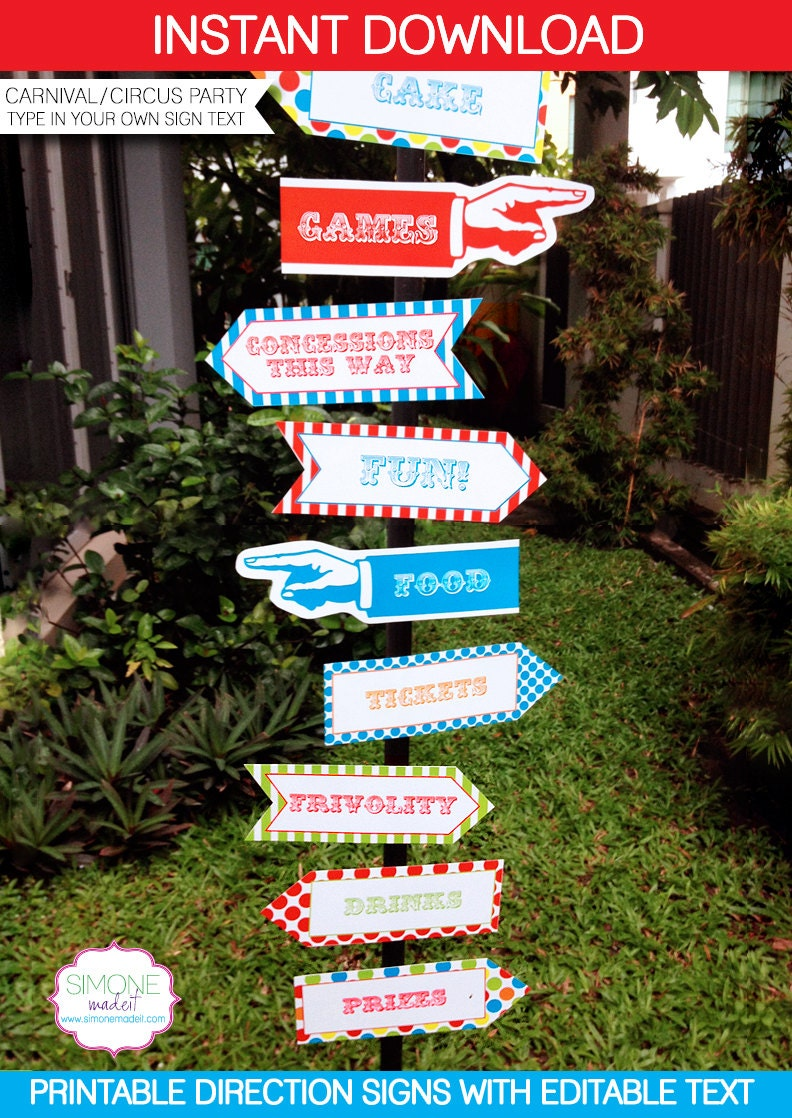 carnival circus direction signs instant download by