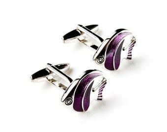 Tropical Fish Cufflinks - Groomsmen Gift - Men's Jewelry - Gift Box Included