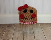 Baby gingerbread hat w BOW beanie great photo prop or gift for Christmas - size NB, 1-3mos, 3-6mos, 6-12mos